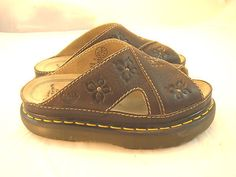 Dr. Martens Doc Flower Detail Brown Leather Slides Sandals Sz UK 5