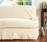 Twill T-Arm Cushion Separate Seat Tailored Loose-Fit Slipcover, Large Sofa, Cream