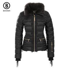 Women's Bogner Inda-D Down Ski Jacket in black with Fringe and Toscana lamb collar | Peter Glenn