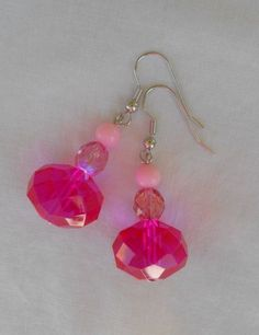 Earrings Handmade Big Hot Pink Faceted Beads Small Pink Accent Beads B #Handmade #DropDangle Sold