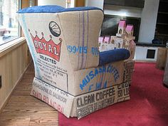 Burlap Coffee Bag Upholstered Chair