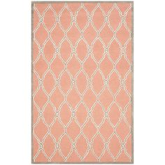 Safavieh Cambridge Collection CAM352W Handmade Moroccan Geometric Coral and Ivory Premium Wool Area Rug (5' x 8') *** Final call for this special discount  : Area Rugs, Runners Pads