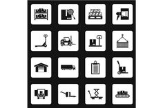 Warehouse and storage icons set by Ylivdesign on @creativemarket