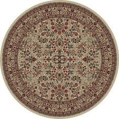 Concord Global Dynasty Ivory Round Indoor Woven Oriental Area Rug (Common: 5 X 5; Actual: 5.25-Ft W X 5.25-Ft L X 5.25-F