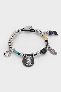 Leather Owl Charm Bracelet in Silver