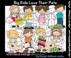 Big Kids Love Their Pets Digital Clip Art, Digital Stamps, Combo Set, Commercial Use, Black & White Image, Instant Download, Dog, Cat, Fish by ResellerClipArt on Etsy