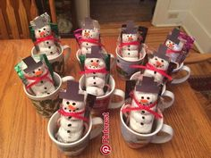 My mugs are from the dollar store with donut snowman ️ hot Coco and a little candy !!!! Great gifts for coworkers aro… | Christmas decor, crafts