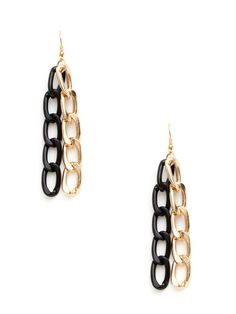 Gold Link Double Strand Drop Earrings by Cara Couture Jewelry $12 on Gilt.com
