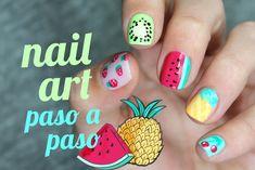 Cómo hacer 5 diseños de frutas en las uñas Nail Art For Girls, Nails For Kids, Girls Nails, Fun Nails, Gelish Nails, Manicure, Little Girl Nails, Animal Nail Art, Super Cute Nails