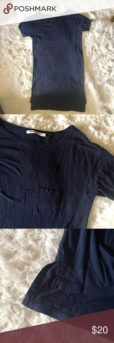 """T by Alexander Wang Shirt Dress Navy blue t-shirt dress with front pocket. Longer at back. An effortlessly cool knit dress styled with a wide, subtly scooped neck and asymmetrical hem is cut from ultrasoft, lightweight jersey. Measurements; bust - 36"""", length (armpit to hem) - 24"""" (26.5"""" at back). 💫 Smoke free home. Offers are welcome! No trades, please. Bundle multiple items for a discount and only pay for shipping once! T by Alexander Wang Dresses"""