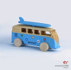 "Personalized Wooden Toy, wooden bus "" VW Kombi surf"""