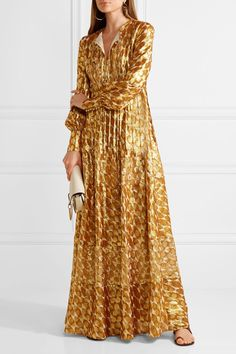 Tory Burch - Bea Metallic Silk-blend Jacquard Gown - Gold