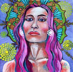 Pink Goddess art by ReneeThompsonDesigns Epson Ink, Goddess Art, Archetypes, New Art, Purple Teal, Original Paintings, Mandala, Spirituality, Greeting Cards