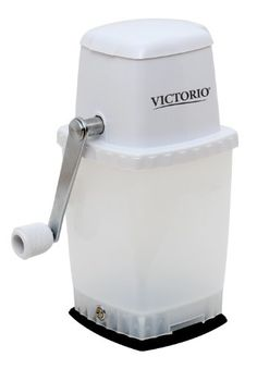 Victorio Kitchen Products VKP1126 Hand Crank Portable Ice Crusher, White Victorio Hand Crank Ice Crusher is the perfect tool to add to any kitchen or wet bar. Strong suction base keeps Ice Crusher securely in place during use. Stainless steel blades can crush ice coarse or fine. Holds approximately 4 cups of crushed ice. Measures 9.5 x 4.5 x 6; 5 year warranty.  #Victorio_Kitchen_Products #Kitchen