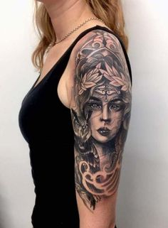 Athena and owl Women tattoo – Fashion Tattoos Gypsy Tattoo Sleeve, Fake Tattoo Sleeves, Tattoos For Women Half Sleeve, Tattoo Sleeve Designs, Tattoo Girls, Tattoos For Kids, Trendy Tattoos, Greek Goddess Tattoo, Greek Mythology Tattoos