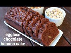 chocolate banana cake recipe, banana and chocolate cake, banana chocolate chip cake with step by step photo/video. chocolaty cake with banana, choco chips. Easy Cake Recipes, Snack Recipes, Steam Cake Recipe, Cooker Cake, Steamed Cake, Chocolate Chip Cake, Indian Dessert Recipes, Choco Chips, Almond Cakes