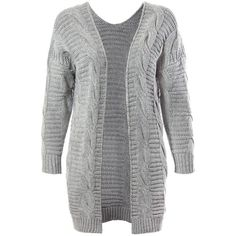 Sans Souci  heather grey chunky cable knit cardigan ($49) ❤ liked on Polyvore featuring tops, cardigans, heather grey, over sized cardigan, cable cardigan, cardigan top, oversized tops and cable knit cardigan