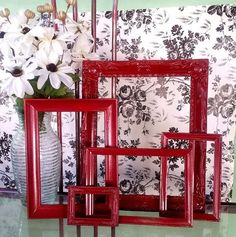 Hey, I found this really awesome Etsy listing at http://www.etsy.com/listing/158936269/red-picture-frames-bold-boho-or-shabby