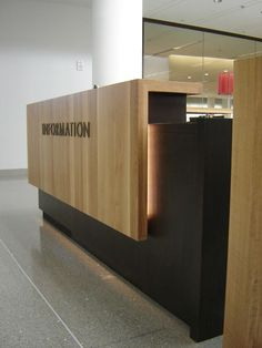 The vacant Information Desk epitomizes Goucher's helpfulness and efficiency.: Office Reception Desks, Salon Reception Desk, Modern Reception Desk, Lobby Reception, Reception Areas, Office Table, Office Decor, Reception Counter Design, Office Counter Design