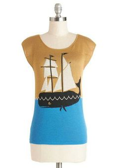 Take to the Sea Sweater by Dear Creatures | Pair this top with cuffed white jeans and black peep toes for look best described as a nautical fantasy!
