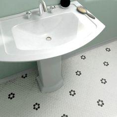 SomerTile 10.25x12-inch Manhattan Hex Antique White with Flower Unglazed Mosaic Floor and