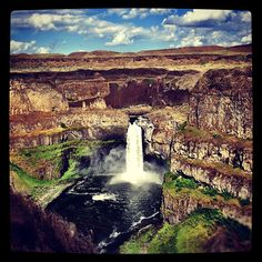 WA State - Palouse Falls State Park - incredible oasis in the rolling hills of the dry land wheat farms of the Palouse in Eastern Washington