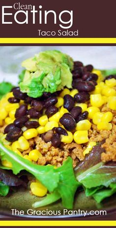 clean eating taco salad Ingredients: 1 pounds learn ground turkey meat 2 teaspoons garlic powder 2 teaspoons chili powder 2 teaspoons paprika Salt and pepper to taste. Best taco salad to date. Taco Salad Recipes, Mexican Food Recipes, Real Food Recipes, Cooking Recipes, Taco Salads, Cooking Tips, Healthy Cooking, Healthy Snacks, Healthy Eating