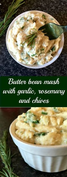 Butter bean mash with garlic, rosemary and chives