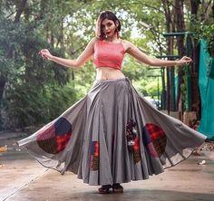 Gray Chaniya With Round Patch And Pink Blouse    #Grey   #Pink #patches   #navratri #chaniyacholi