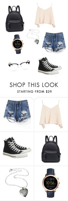 """My First Polyvore Outfit"" by kayleefitzgerald ❤ liked on Polyvore featuring Topshop, Converse, FOSSIL and Yves Saint Laurent"