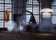 "Created by Philippe Starck for Baccarat, the ""Marie Coquine"" standing lamp sets a crystal chandelier into an umbrella"