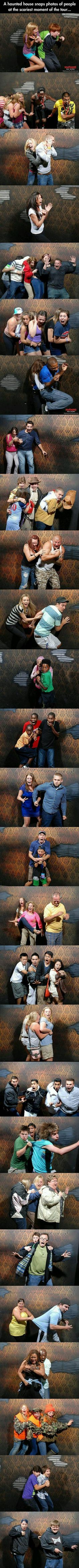 The Nightmares Fear Factory in Canada claims to be the scariest haunted house attraction in the world. And after seeing these pictures... they might be right.  There is a hidden camera that snaps photos right at the scariest moment of the tour. I have no idea what happens at this moment, but judging by these people's reactions... it's absolutely terrifying!!