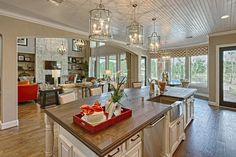 Home Remodeling Open Concept LOVE the open concept, natural light/large windows, and the architecture. Not a fan of the kitchen ceiling though. Kitchen Family Rooms, Kitchen On A Budget, Home Renovation, Home Remodeling, Secret House, Ranch Style Homes, Open Concept Kitchen, Beautiful Kitchens, Home Interior Design