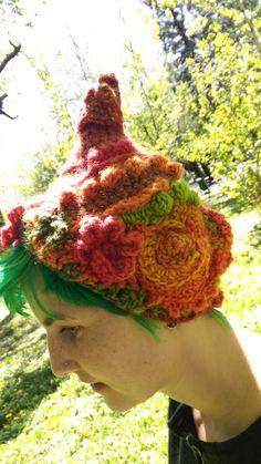 Crochet Freeform Turban Hat  Fairy Pixie Elf Hat  www.etsy.com/listing/510637472/crochet-freeform-turban-hat-whimsical