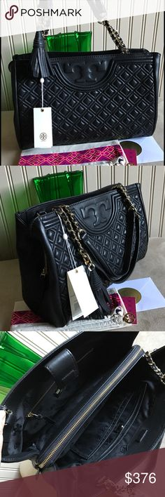 """New Tory Burch Fleming Open Shoulder Bag New Tory Burch Fleming Open Shoulder Bag leather black. New with tag and dust bag. Measure: 12.75"""" x 8.98"""" x 5.58"""". 100 authentic. Price firm. No trade. Tory Burch Bags Shoulder Bags"""