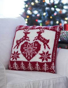 Yarnspirations Add a touch of Scandinavian style to your home with this Nordic Christmas Pillow. Christmas Knitting Patterns, Knitting Patterns Free, Knit Patterns, Free Knitting, Pillow Patterns, Free Pattern, Knitting Terms, Christmas Cushions, Christmas Pillow