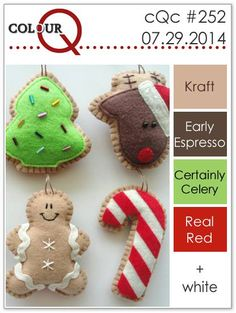 Our last colourQ palette of July features a bit of Christmas inspired by these delightful hand-made ornaments . Christmas Colour Schemes, Christmas Colors, Christmas Crafts, Christmas Stuff, Colour Pallette, Color Combinations, Color Schemes, Design Seeds, Stamping Up