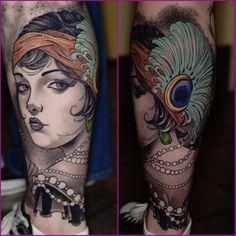28 Amazing Flapper Girl Tattoos From The Roaring Twenties - TattooBlend Head Tattoos, Pin Up Tattoos, Badass Tattoos, Love Tattoos, Beautiful Tattoos, Gypsy Tattoos, Arabic Tattoos, Dragon Tattoos, Beautiful Body
