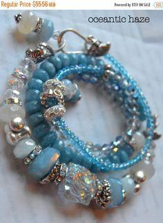 ON SALE chunky bracelet  aquamarine bracelet by soulfuledges