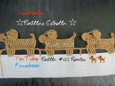 Crochet Edging Video shows treble crochet but I did with double crochet to make smaller, as it seemed too tall for a border for a baby blanket. Make back legs: Single cr. Crochet Blanket Border, Crochet Edging Patterns, Crochet Borders, Crochet Stitches, Crochet Hooks, Crochet Curtains, Crochet Squares, Cross Stitches, Stitch Patterns