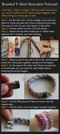 DIY braided t-shirt bracelet Super cute and super easy.