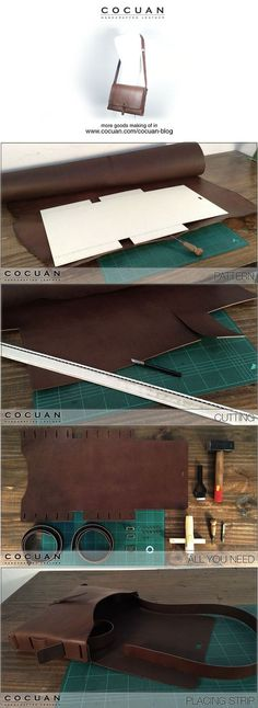 Making of – Leather big messenger bag Leather Art, Leather Design, Leather Tooling, Leather Purses, Leather Handbags, Soft Leather, Vintage Leather, Handmade Leather, Diy Leather Rucksack
