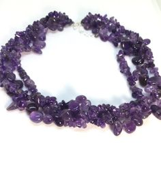 Amethyst Necklace Beaded Triple Strand Necklace by PetitDepot