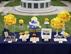 pretty yellow and navy wedding flower ideas