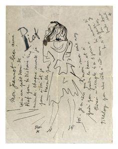 © Coll. privée / Musée des lettres et manuscrits, Paris. Lettre autographe de Jean Cocteau signée « Jean » adressée à Jean Marais, avec un dessin représentant Edith Piaf.