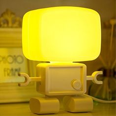MuLuo Intelligent Cute Robot Night Table Lamp Dual Sound and Llight Control LED Small Night Light USB Rechargable Desk Lamp for Bedroom Bathroom and Baby Roomyellow * You can find more details by visiting the image link-affiliate link. #NurseryNightLights