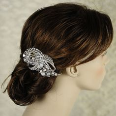 Pearl Bridal Hair Comb Rhinestone and Crystal by GlamorousBijoux