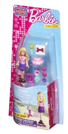 Mega Bloks - Barbie - Party Time Barbie by Megabloks. $6.49. Combine with all of the Mega Bloks Barbie® sets to build a fabulous world of fashions, friends and fun. Two party looks for Barbie® doll. Buildable cake and pretty presents. From the Manufacturer                Barbie® doll is throwing a big birthday celebration and you're invited.  Choose her party look, gather the presents and make the perfect birthday cake. The Party Time Barbie® Accessory Pack has everyt...