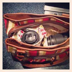 DIY insert to turn purse into camera bag