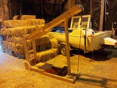 Is it a medieval ducking stool or trebuchet? Nope its Steve's super duper straw bale compressor. Get those bales firm and tight, ha sounds like a get fit video.